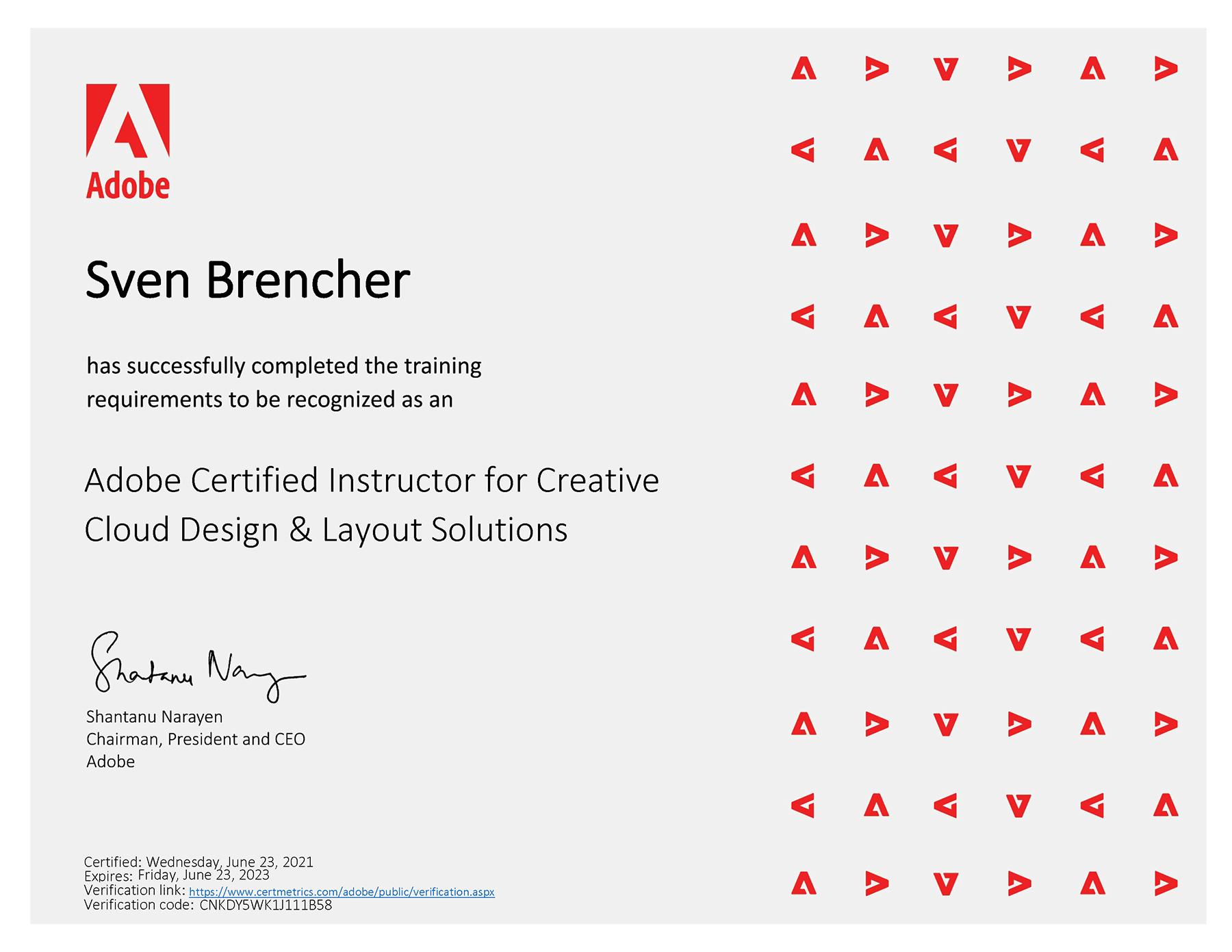 Sven Brencher – Adobe Certified Instructror für Creative Cloud Design und Layout