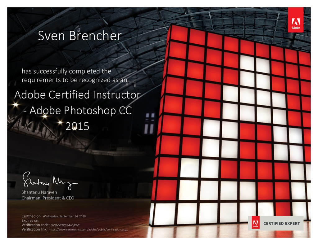 Adobe Certified Instructor Urkunde
