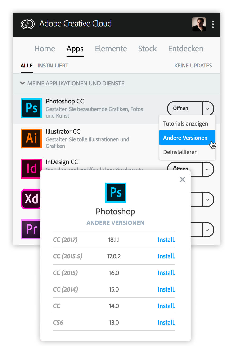 Die Creative Cloud Desktop App