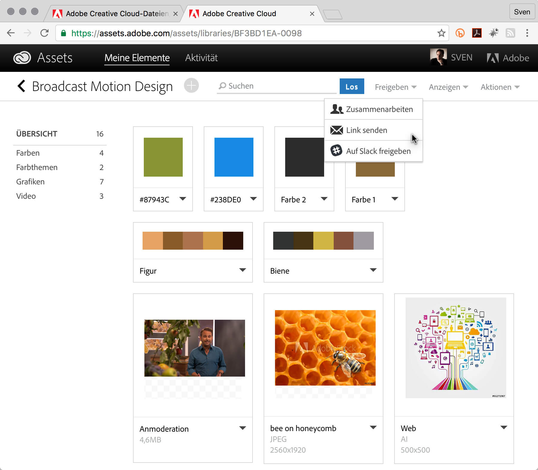 Creative Cloud Bibliothek.