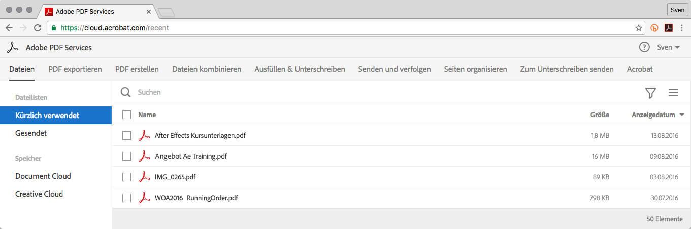 Die Document Cloud im Chrome Browser