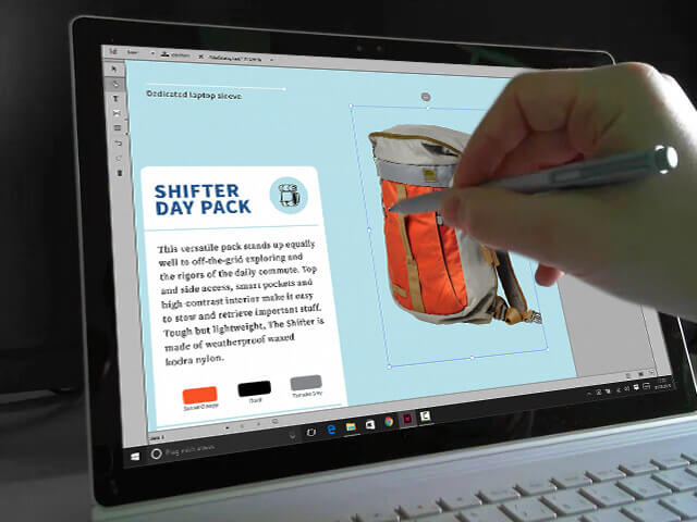 InDesign Touch UI auf dem Surface Book