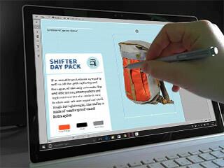 InDesign Touch UI auf dem Surface Book