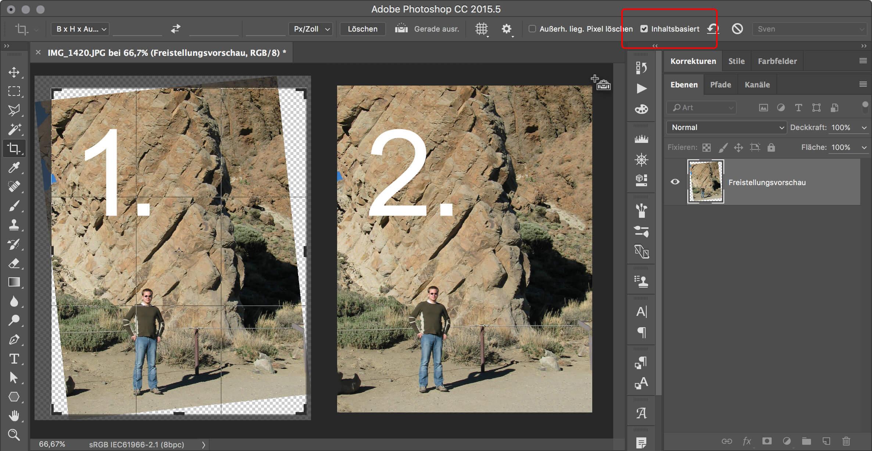 Die Funktion Inhaltsbasiert füllt beim Freistellen automatisch die leeren Bereiche an den Ecken mit neuen Pixeln auf.