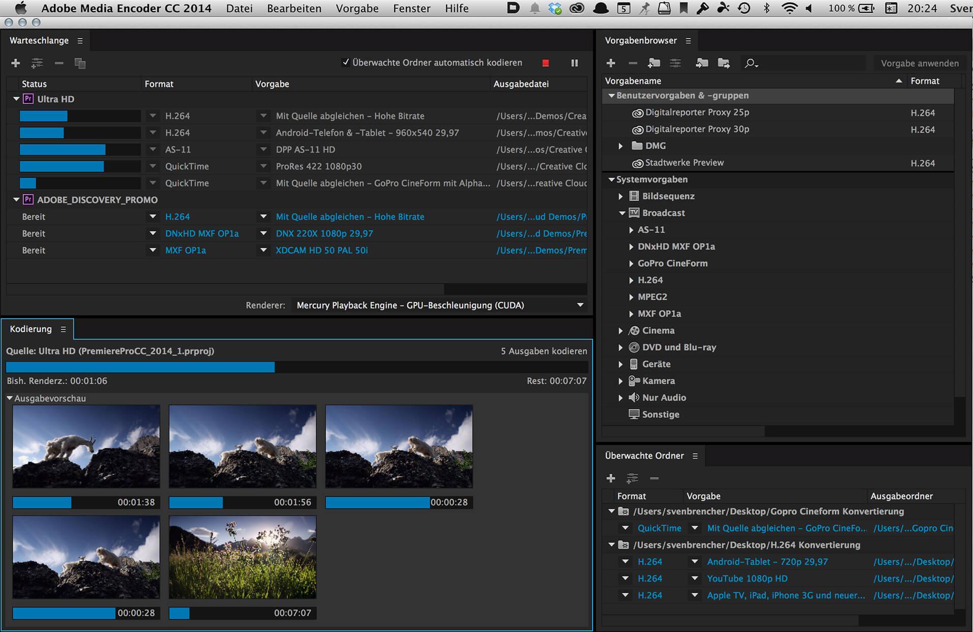 Arbeitsoberfläche vom Adobe Media Encoder
