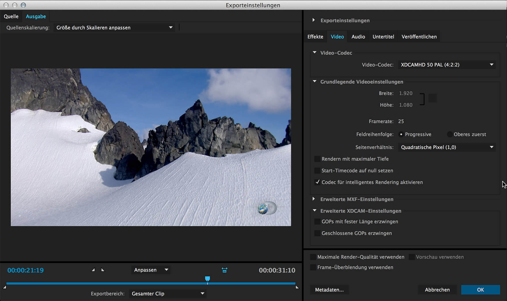 Smart Rendering mit dem Adobe Media Encoder