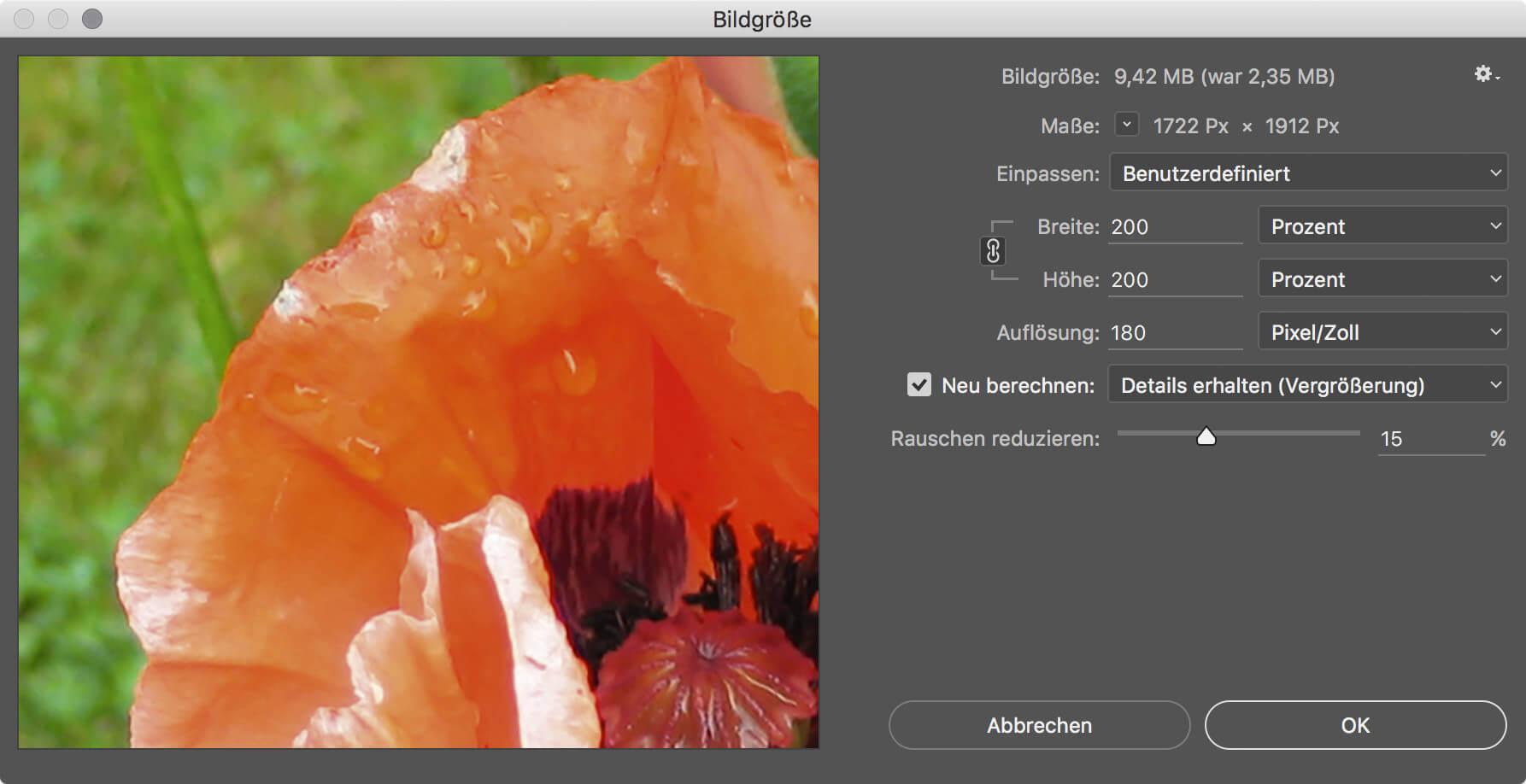 Photoshop Details erhalten für Vergrößerungen