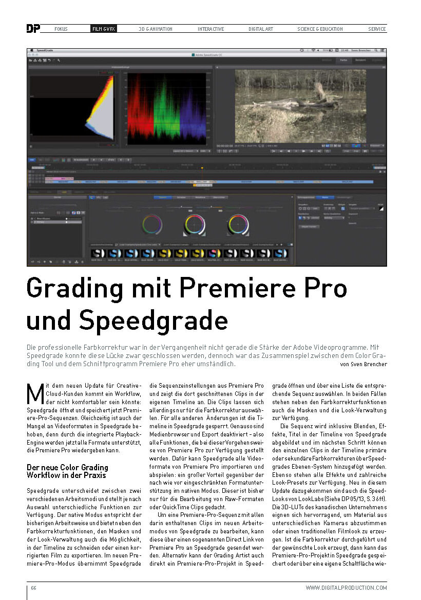 Fachartikel in der Digital Production zum Grading Workflow mit SpeedGrade und Premiere Pro