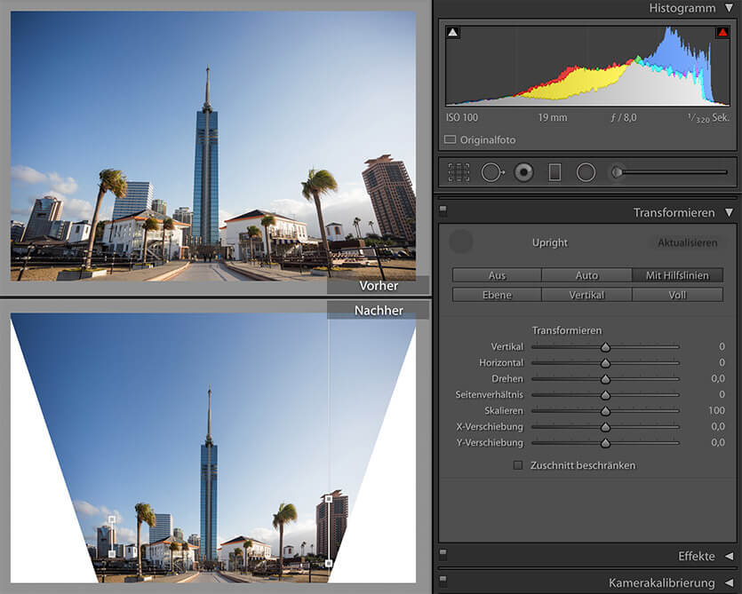 Upright mit Hilfslinien in Lightroom CC 2015