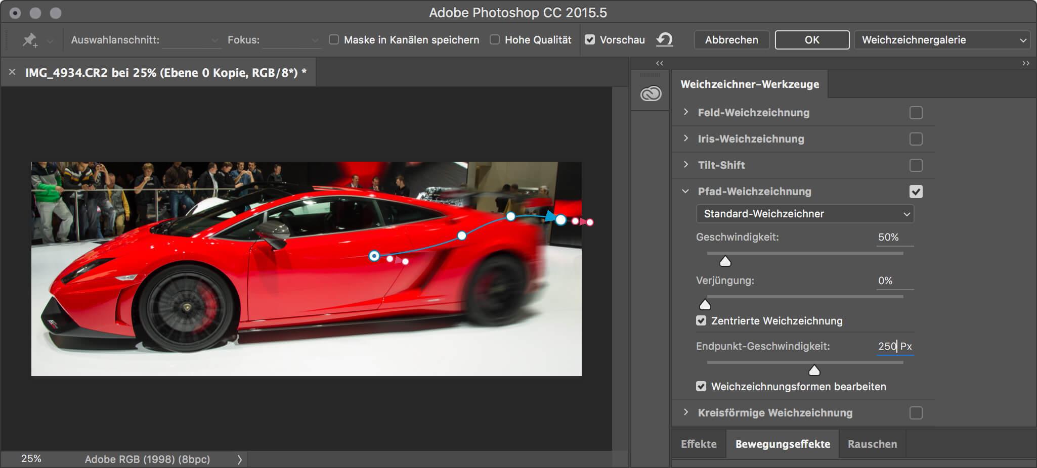Pfad-Weichzeichnung und kreisförmige Weichzeichnung mit der Photoshop Weichzeichnergallerie