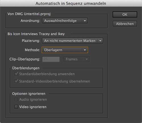 Die Funktion Automatische Sequenzumwandlung zur Ausrichtung von Clips an Marken
